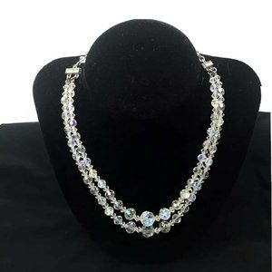 Sarah Coventry Clear Crystal Bead Beaded Necklace